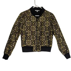 Lucy Paris Metallic Embroidered Bomber Jacket